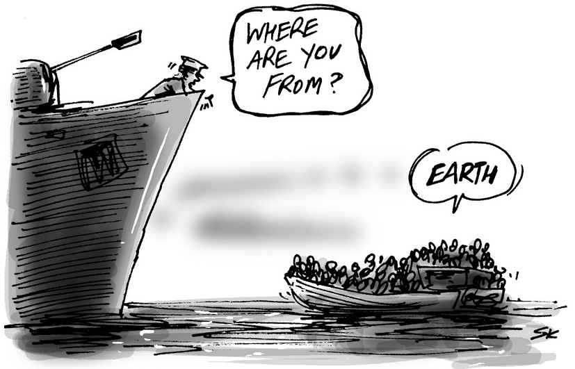 Refugees simon kneebone cartoonist and illustrator for Why do people move to la